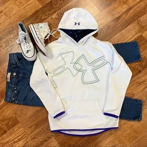 Under Armour Loose Cold Gear Hoodie White Purple